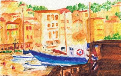 Villefranche Painting - The Harbour At Villefranche by Katherine Shemeld
