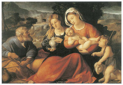 The Holy Family And Mary Magdalene Art Print by Palma The Elder
