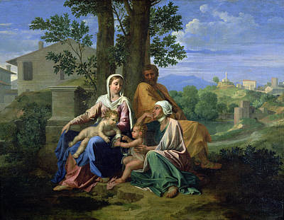Mountain Painting - The Holy Family With Ss John Elizabeth And The Infant John The Baptist by Nicolas Poussin