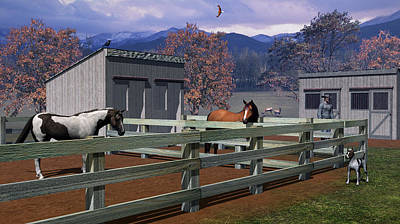 Digital Art - The Horse Corral by Walter Colvin