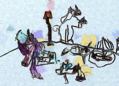 The Horses Picnic Art Print by Odon Czintos