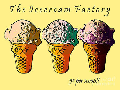 The Icecream Factory . 3 Cents Per Scoop Art Print by Wingsdomain Art and Photography