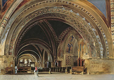 The Interior Of The Lower Basilica Of St. Francis Of Assisi Art Print by Thomas Hartley Cromek
