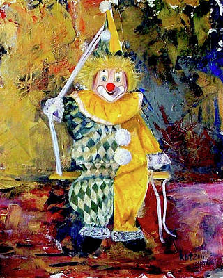 The Invisible Tears Of The Clown  Art Print by Kasia Turajczyk