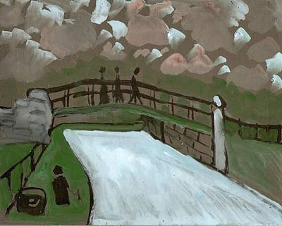 Folk Art Mixed Media - The Iron Bridge by Peter  McPartlin