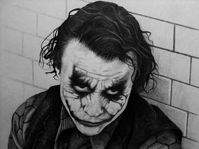 Heath Ledger Drawing - The Joker by Carlos Velasquez Art