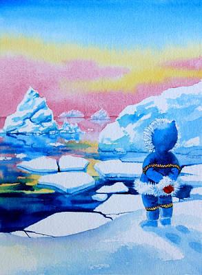 Ice Floe Painting - The Kayak Racer 1 by Hanne Lore Koehler