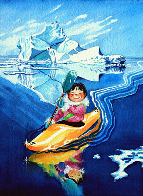 Children Book Illustrator Painting - The Kayak Racer 13 by Hanne Lore Koehler
