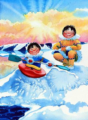 Ice Floe Painting - The Kayak Racer 4 by Hanne Lore Koehler