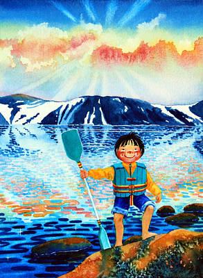 Ice Floe Painting - The Kayak Racer 5 by Hanne Lore Koehler