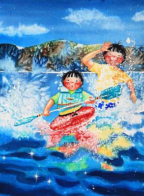 Ice Floe Painting - The Kayak Racer 7 by Hanne Lore Koehler