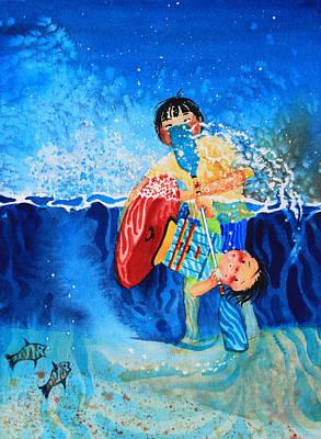 Ice Floe Painting - The Kayak Racer 9 by Hanne Lore Koehler