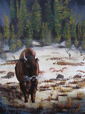Painting - The King Of Yellowstone by Don Hutchison