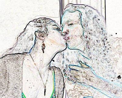Digital Art - The Kiss by Angela Murray