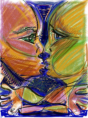 Man And Woman Mixed Media - the Kiss by Russell Pierce