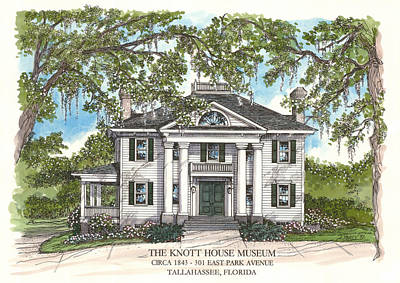 Drawing - The Knott House Circa 1843 by Audrey Peaty