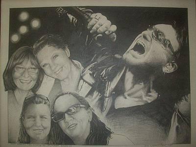 U2 Drawing - The Ladies At U2 by Douglas Wedderspoon