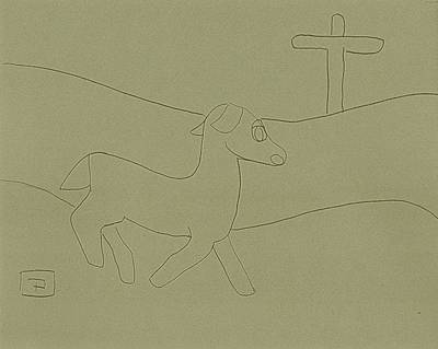 Primitive Drawing - The Lamb Of God by Peter  McPartlin