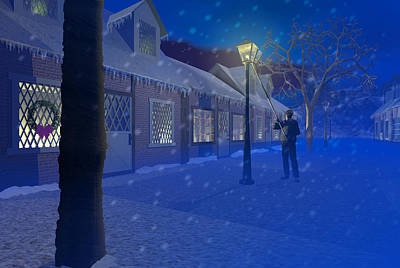 Street Lamps Digital Art - The Lamplighter by Carol and Mike Werner