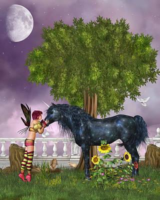 The Last Black Unicorn Art Print by Simone Gatterwe