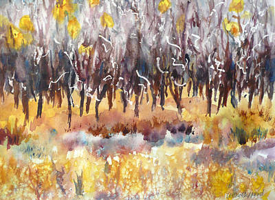 Mountain Scene Painting - The Last Of The Aspen Leaves by Anne Gifford