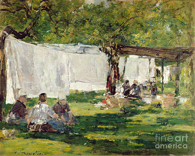 Gossiping Painting - The Laundry At Collise St. Simeon  by Eugene Louis Boudin