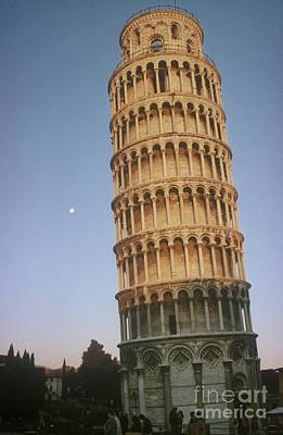 The Leaning Tower Of Pisa With Moon Art Print