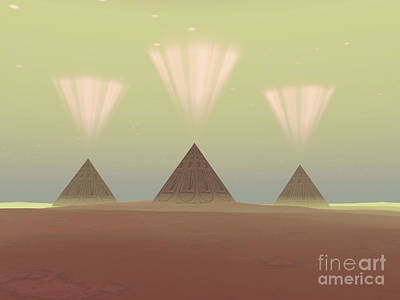 Plateau Digital Art - The Lights From Ancient Pyramids Join by Corey Ford
