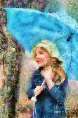 Digital Art - The Little Girl Who Loves Rain by Aimelle