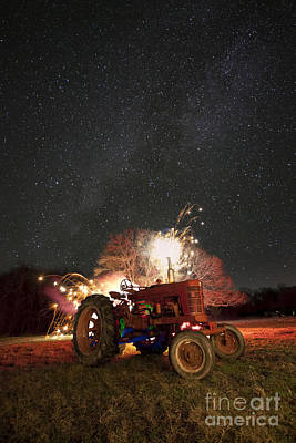 Color Explosion Photograph - The Little Red Tractor That Could by Keith Kapple