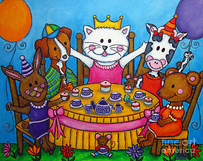 Balloon Flower Painting - The Little Tea Party by Lisa  Lorenz