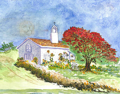 Painting - The Little White Church by Joy Braverman