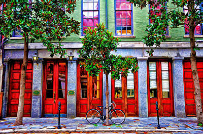 French Door Digital Art - The Locked Bicycle - New Orleans by Bill Cannon