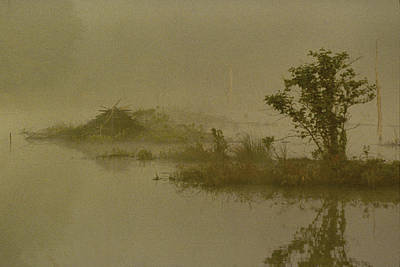 The Lodge In The Mist Print by Skip Willits