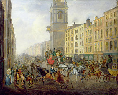 Perspective Painting - The London Bridge Coach At Cheapside by William de Long Turner