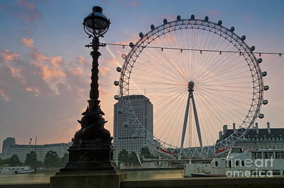 London Eye Digital Art - The London Eye Sunrise by Donald Davis