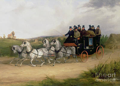 Coach Horses Painting - The London To Brighton Stage Coach by William Joseph Shayer