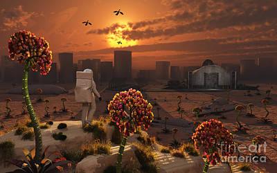 Grow Digital Art - The Lone Figure Of An Astronaut by Mark Stevenson