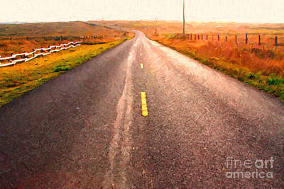 The Long Road Home . Painterly Style Art Print by Wingsdomain Art and Photography