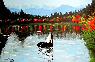 Painting - The Lost Orca Whale by Teo Alfonso
