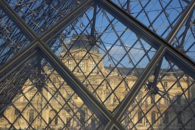 The Louvre As Seen Through The Glass Print by Cotton Coulson