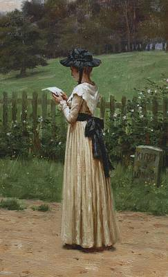 Flower Fields Painting - The Love Letter by Edmund Blair Leighton
