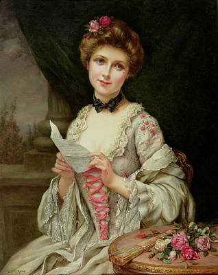 Wistful Painting - The Love Letter by Francois Martin-Kayel