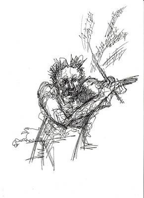 Frenzy Drawing - The Mad Maestro by Holly Stone