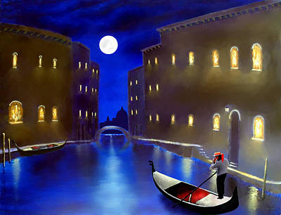 The Magic Nights Of Venice Lights  Art Print
