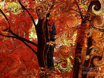 Impressionism Photos - The Magic of Autumn - Digital Abstract by Carol Groenen