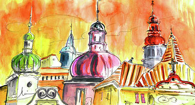 House Art Drawing - The Magical Roofs Of Prague 01 Bis by Miki De Goodaboom