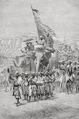 The Maharaja Of Baroda, India Riding An Print by Ken Welsh