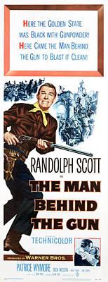 The Man Behind The Gun, Randolph Scott Art Print by Everett