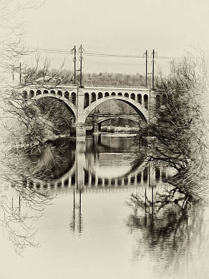 Phillies Digital Art - The Manayunk Bridge Across The Schuylkill by Bill Cannon